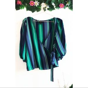 Worthington Blue and Green Striped Blouse